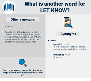 let know, synonym let know, another word for let know, words like let know, thesaurus let know