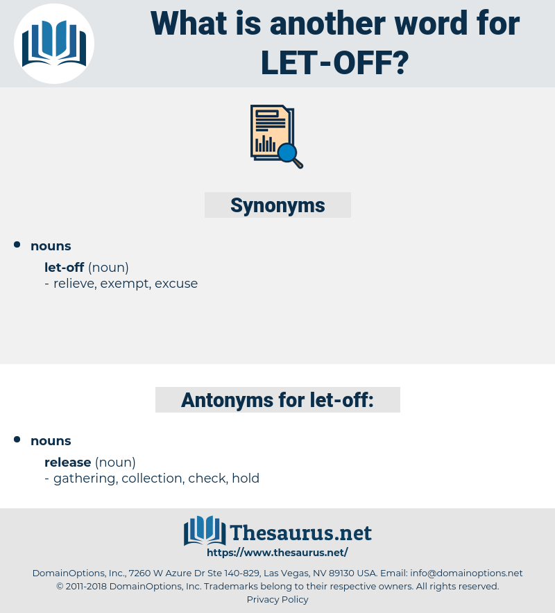 let off, synonym let off, another word for let off, words like let off, thesaurus let off