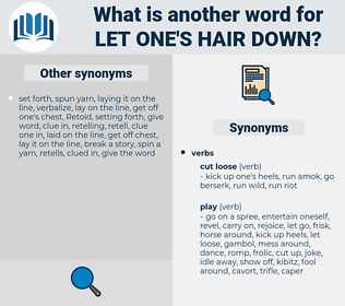 let one's hair down, synonym let one's hair down, another word for let one's hair down, words like let one's hair down, thesaurus let one's hair down