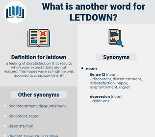 letdown, synonym letdown, another word for letdown, words like letdown, thesaurus letdown