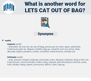 lets cat out of bag, synonym lets cat out of bag, another word for lets cat out of bag, words like lets cat out of bag, thesaurus lets cat out of bag