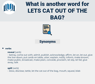 lets cat out of the bag, synonym lets cat out of the bag, another word for lets cat out of the bag, words like lets cat out of the bag, thesaurus lets cat out of the bag