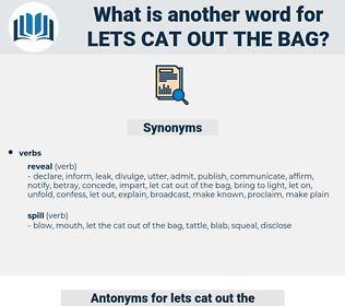 lets cat out the bag, synonym lets cat out the bag, another word for lets cat out the bag, words like lets cat out the bag, thesaurus lets cat out the bag
