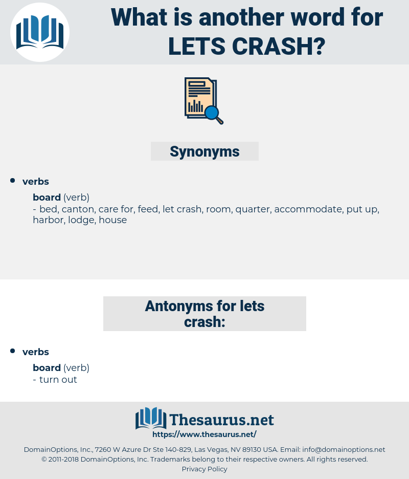 lets crash, synonym lets crash, another word for lets crash, words like lets crash, thesaurus lets crash