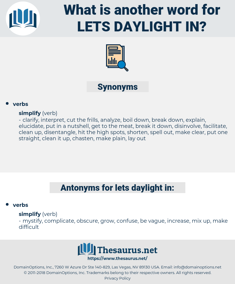 lets daylight in, synonym lets daylight in, another word for lets daylight in, words like lets daylight in, thesaurus lets daylight in