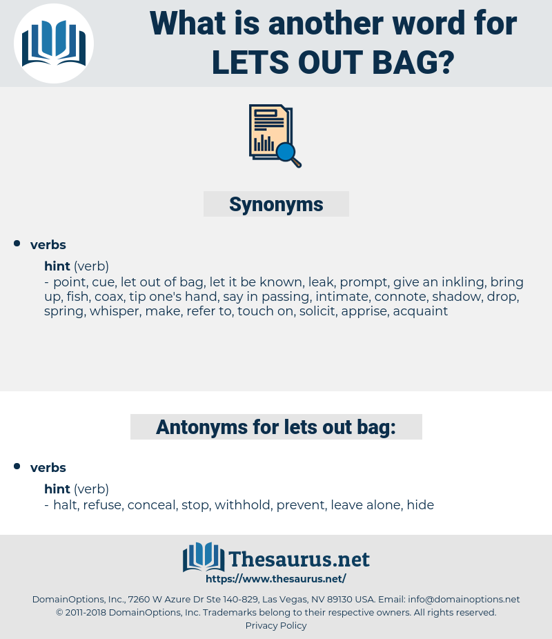 lets out bag, synonym lets out bag, another word for lets out bag, words like lets out bag, thesaurus lets out bag