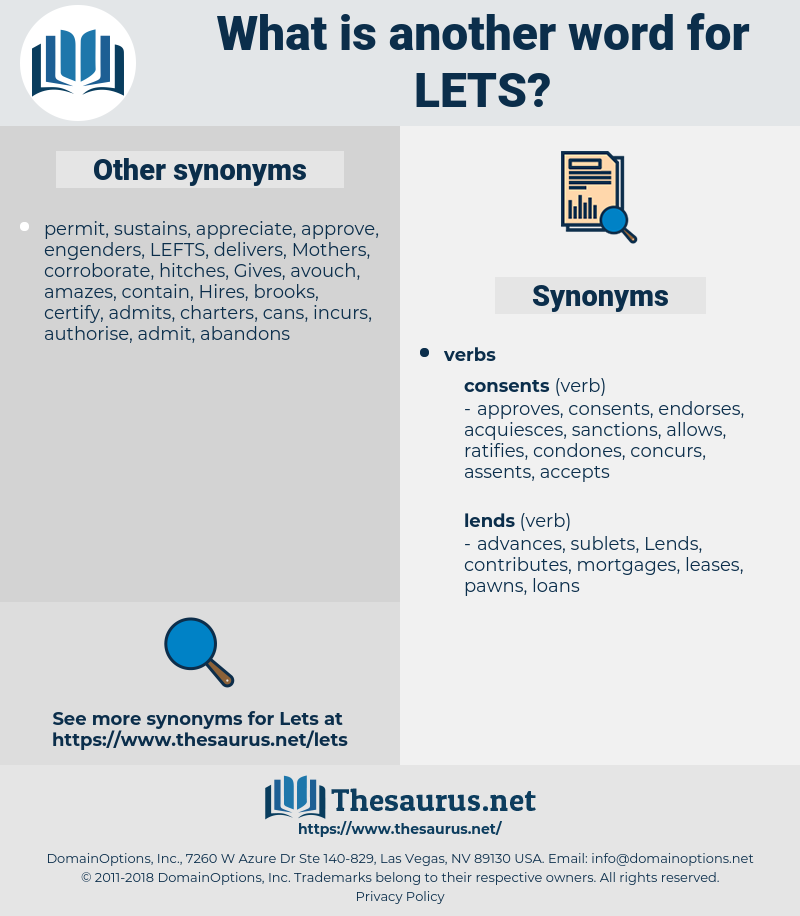 lets, synonym lets, another word for lets, words like lets, thesaurus lets