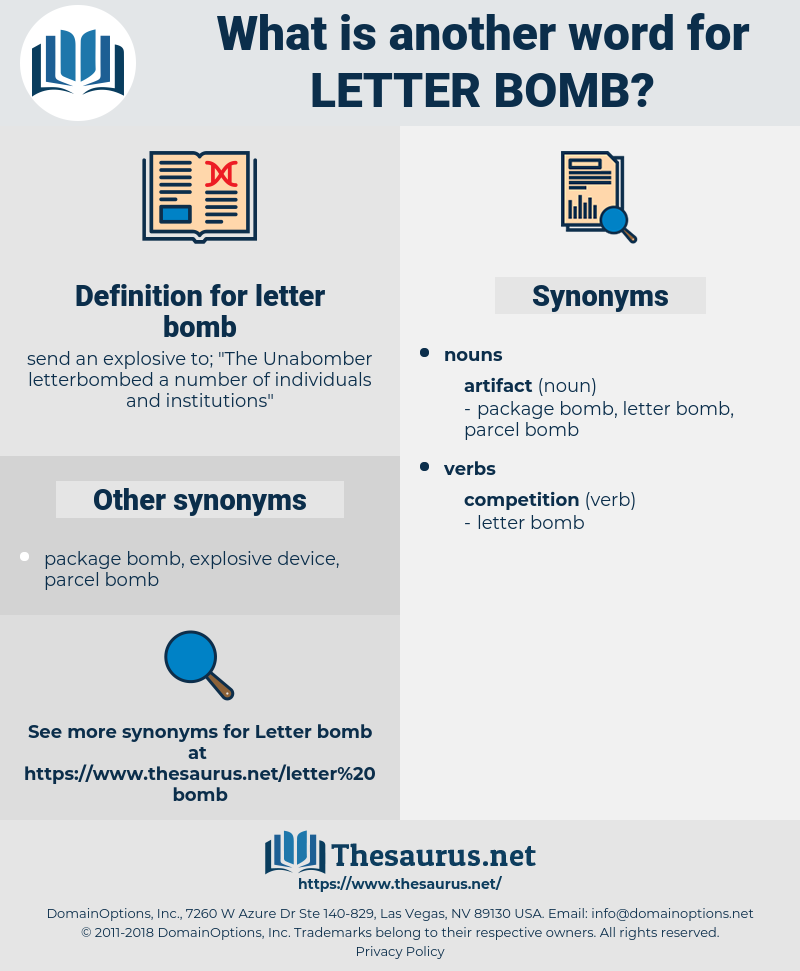letter bomb, synonym letter bomb, another word for letter bomb, words like letter bomb, thesaurus letter bomb