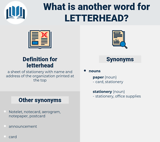 letterhead, synonym letterhead, another word for letterhead, words like letterhead, thesaurus letterhead