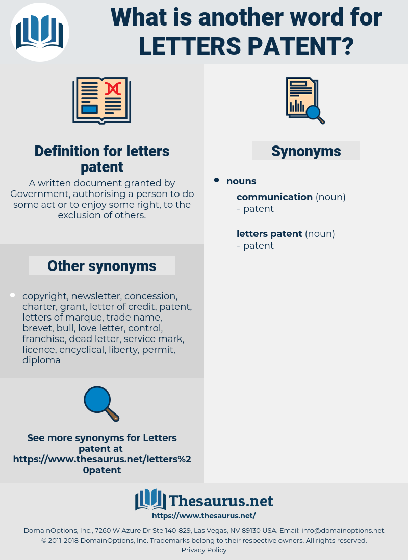 letters patent, synonym letters patent, another word for letters patent, words like letters patent, thesaurus letters patent