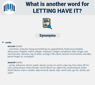 letting have it, synonym letting have it, another word for letting have it, words like letting have it, thesaurus letting have it