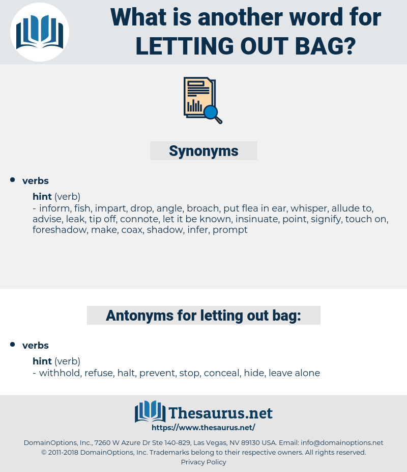 letting out bag, synonym letting out bag, another word for letting out bag, words like letting out bag, thesaurus letting out bag