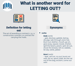 letting out, synonym letting out, another word for letting out, words like letting out, thesaurus letting out