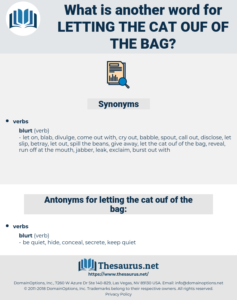 letting the cat ouf of the bag, synonym letting the cat ouf of the bag, another word for letting the cat ouf of the bag, words like letting the cat ouf of the bag, thesaurus letting the cat ouf of the bag