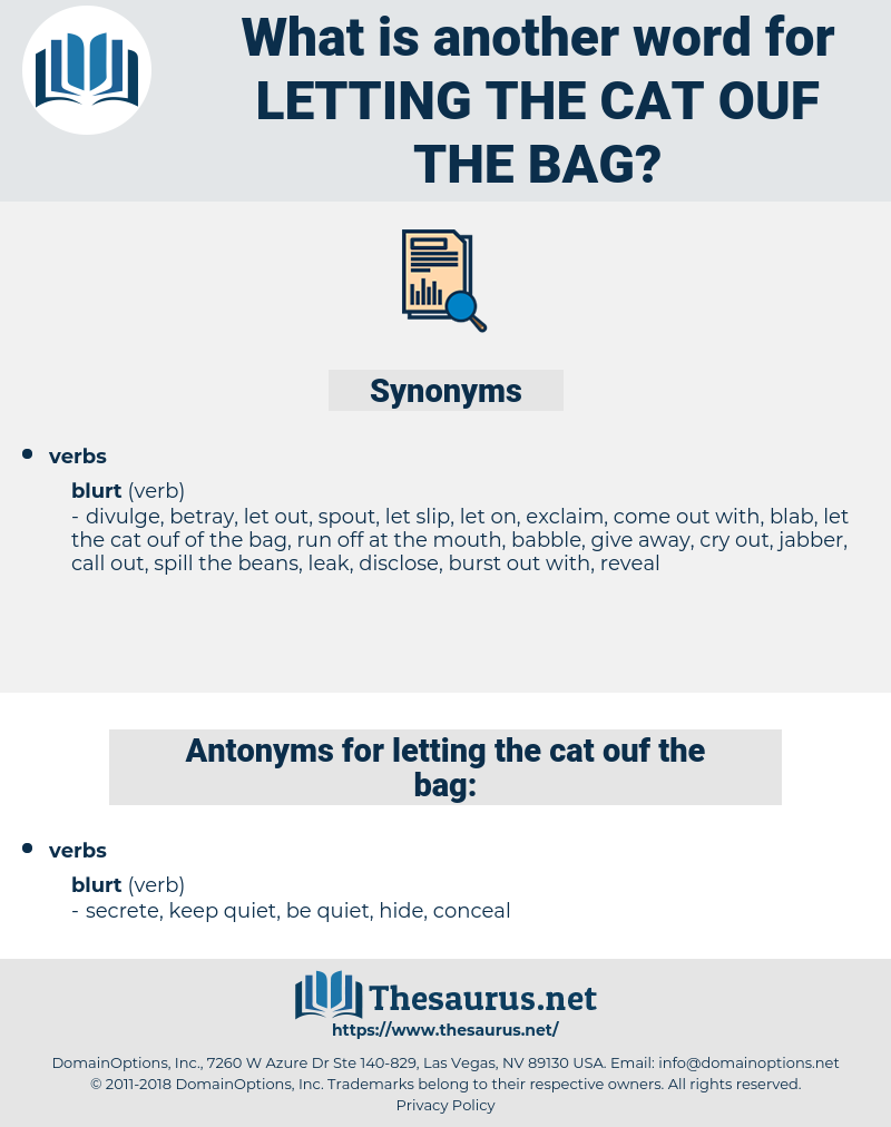 letting the cat ouf the bag, synonym letting the cat ouf the bag, another word for letting the cat ouf the bag, words like letting the cat ouf the bag, thesaurus letting the cat ouf the bag