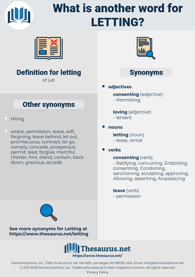 letting, synonym letting, another word for letting, words like letting, thesaurus letting