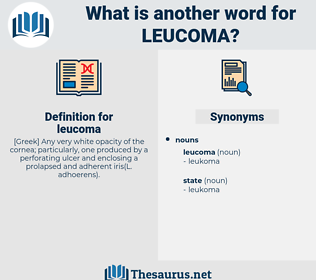 leucoma, synonym leucoma, another word for leucoma, words like leucoma, thesaurus leucoma