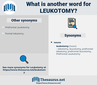 leukotomy, synonym leukotomy, another word for leukotomy, words like leukotomy, thesaurus leukotomy