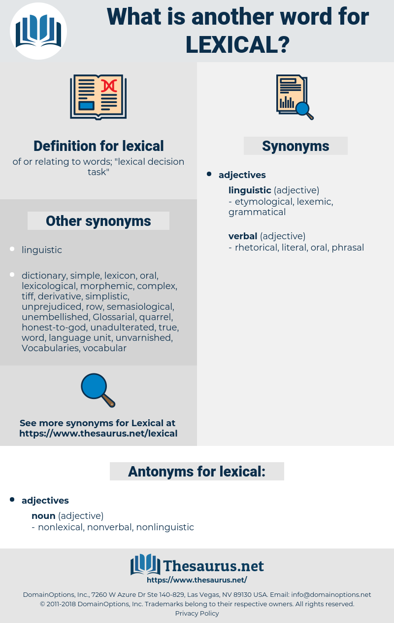 lexical, synonym lexical, another word for lexical, words like lexical, thesaurus lexical