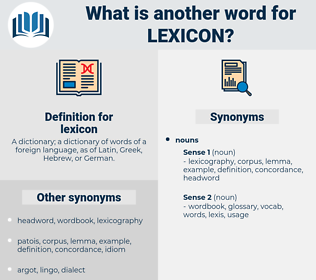 lexicon, synonym lexicon, another word for lexicon, words like lexicon, thesaurus lexicon