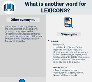 lexicons, synonym lexicons, another word for lexicons, words like lexicons, thesaurus lexicons