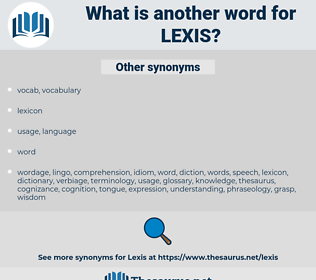 lexis, synonym lexis, another word for lexis, words like lexis, thesaurus lexis