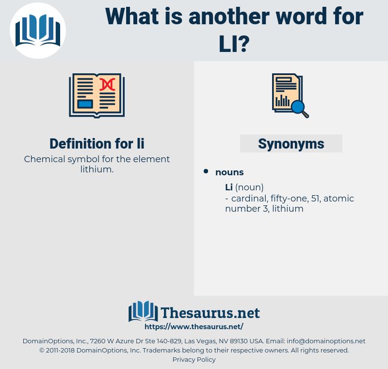 li, synonym li, another word for li, words like li, thesaurus li
