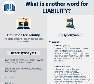 liability, synonym liability, another word for liability, words like liability, thesaurus liability