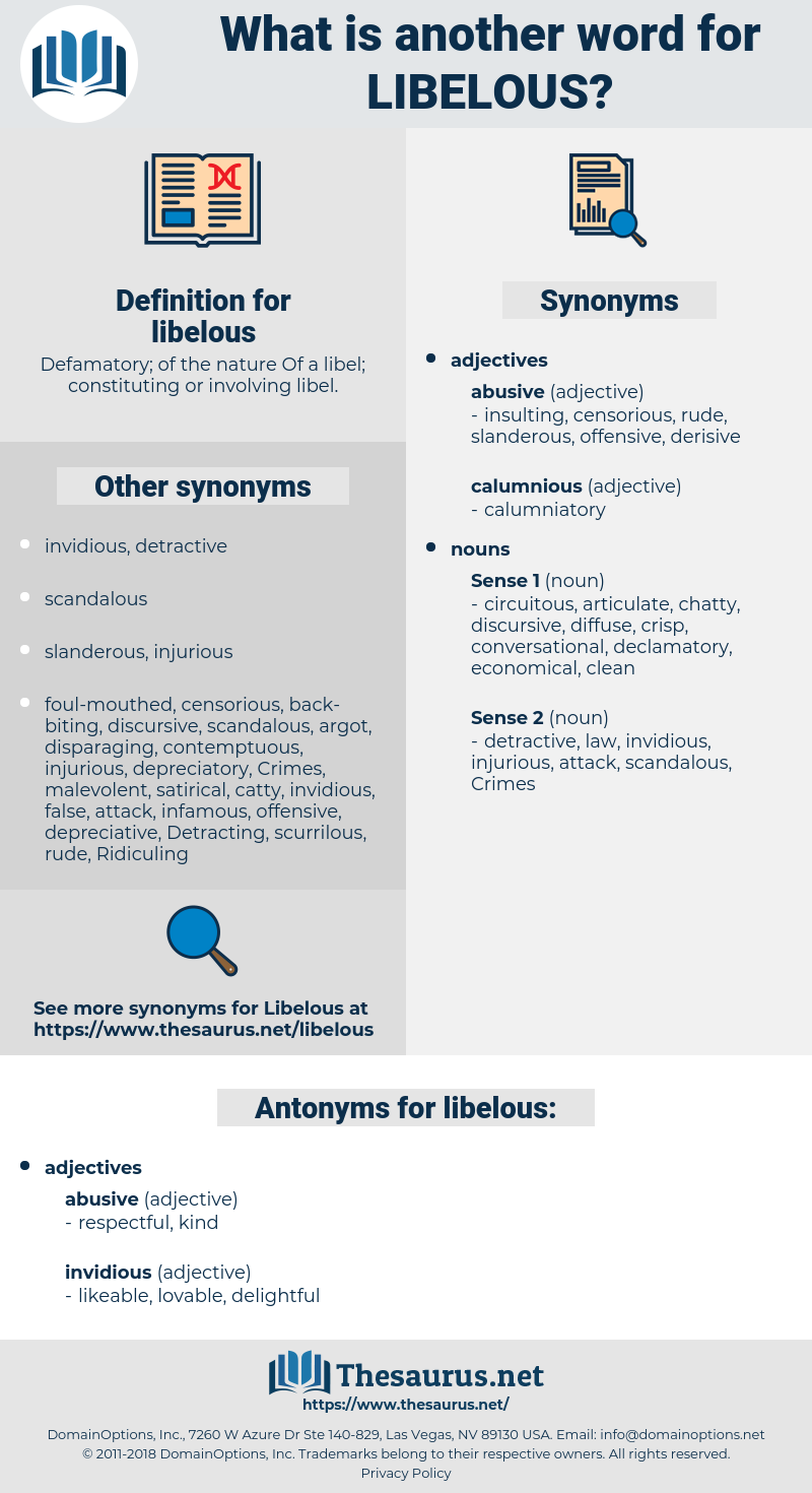 libelous, synonym libelous, another word for libelous, words like libelous, thesaurus libelous