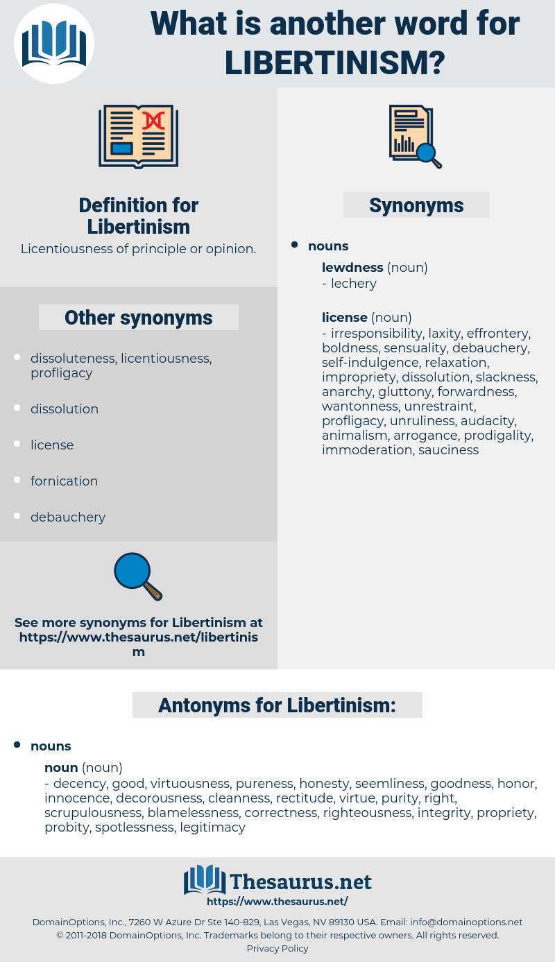Libertinism, synonym Libertinism, another word for Libertinism, words like Libertinism, thesaurus Libertinism