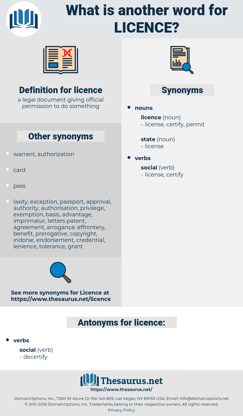 licence, synonym licence, another word for licence, words like licence, thesaurus licence