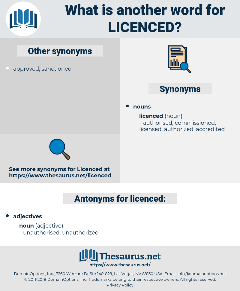 licenced, synonym licenced, another word for licenced, words like licenced, thesaurus licenced