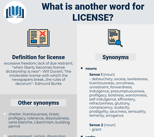 license, synonym license, another word for license, words like license, thesaurus license