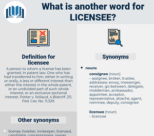 licensee, synonym licensee, another word for licensee, words like licensee, thesaurus licensee
