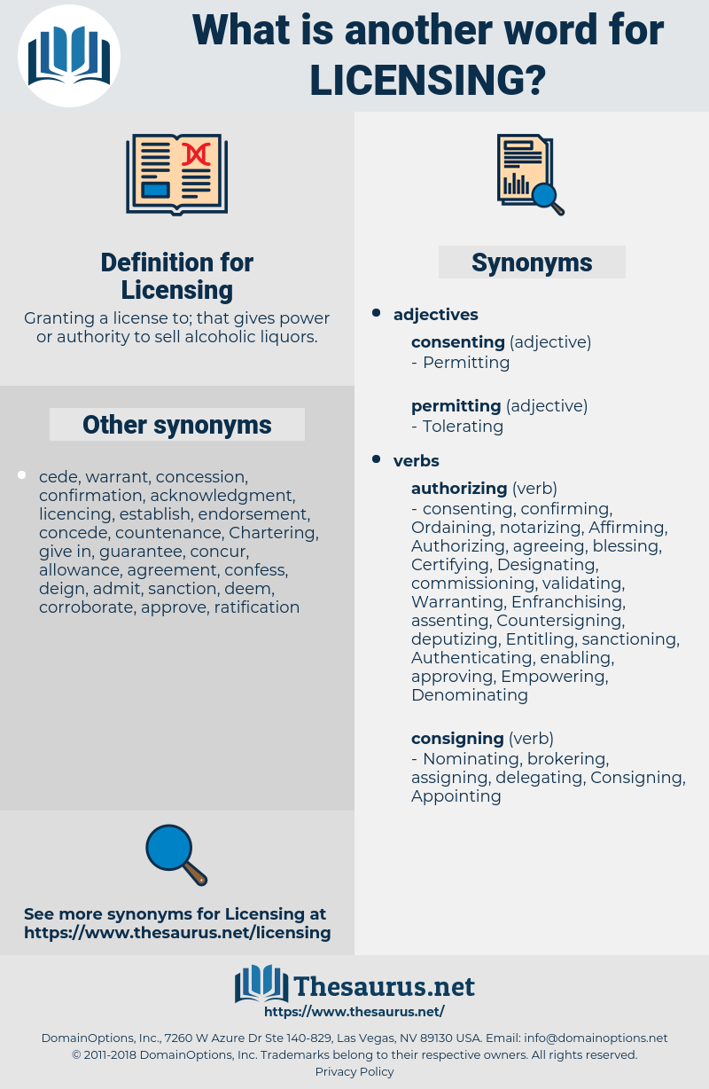 Licensing, synonym Licensing, another word for Licensing, words like Licensing, thesaurus Licensing