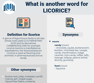 licorice, synonym licorice, another word for licorice, words like licorice, thesaurus licorice
