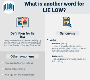 lie low, synonym lie low, another word for lie low, words like lie low, thesaurus lie low