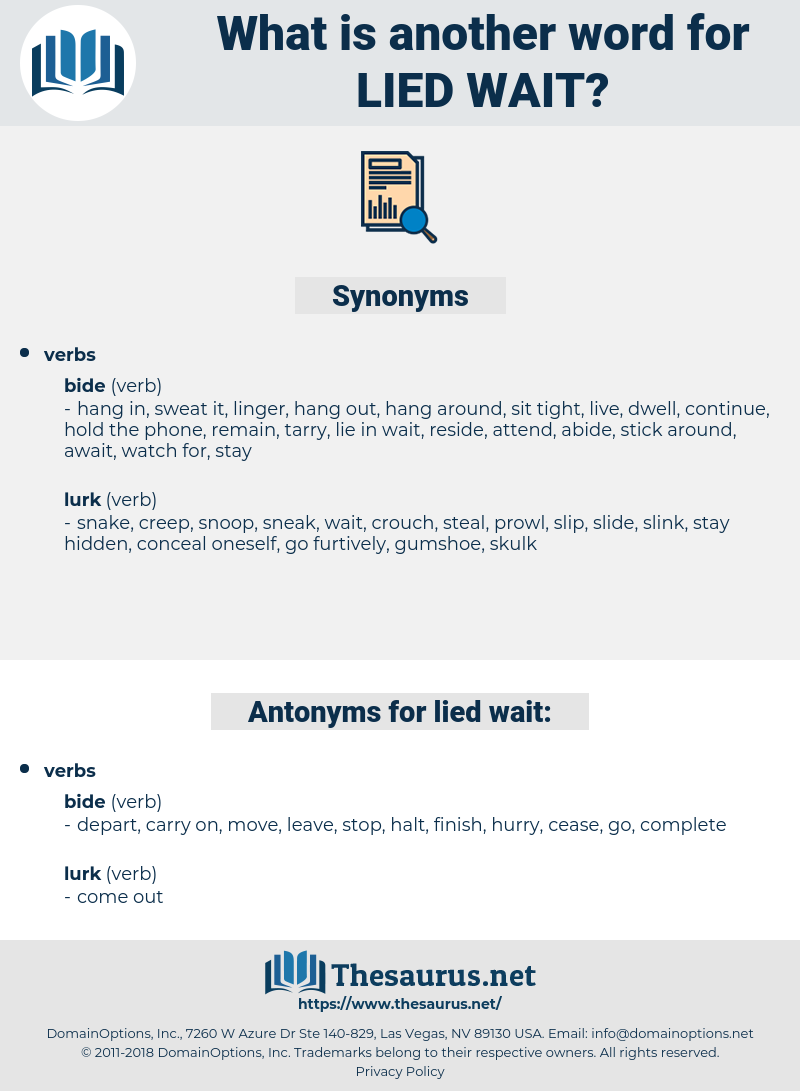 lied wait, synonym lied wait, another word for lied wait, words like lied wait, thesaurus lied wait