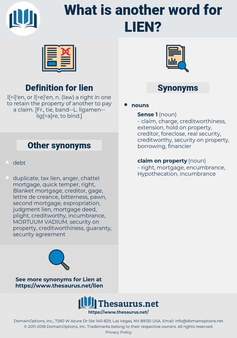 lien, synonym lien, another word for lien, words like lien, thesaurus lien