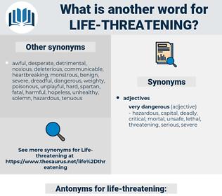 life-threatening, synonym life-threatening, another word for life-threatening, words like life-threatening, thesaurus life-threatening