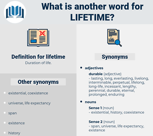 lifetime, synonym lifetime, another word for lifetime, words like lifetime, thesaurus lifetime