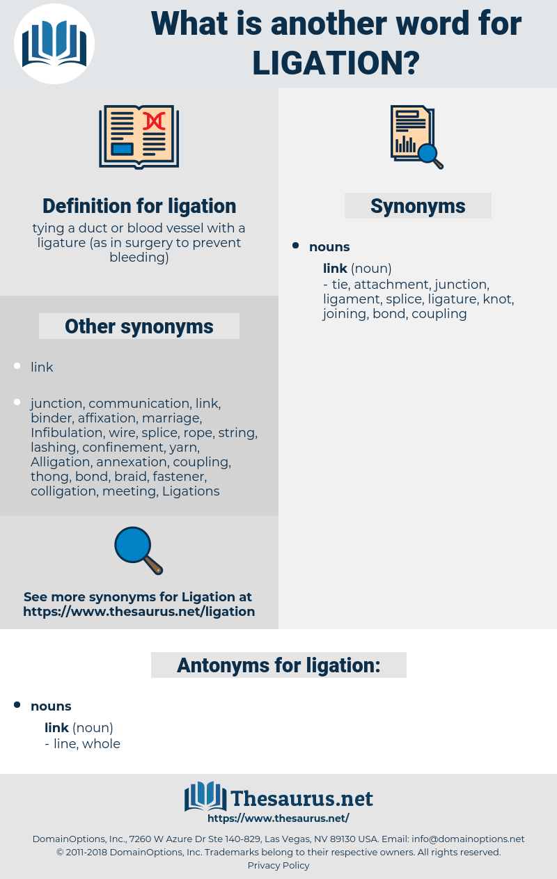 ligation, synonym ligation, another word for ligation, words like ligation, thesaurus ligation