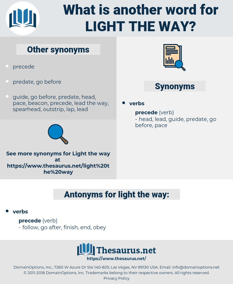 light the way, synonym light the way, another word for light the way, words like light the way, thesaurus light the way