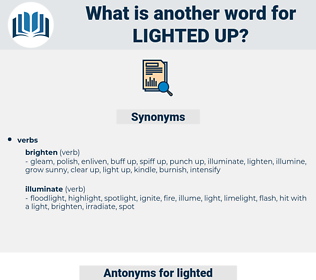 lighted up, synonym lighted up, another word for lighted up, words like lighted up, thesaurus lighted up