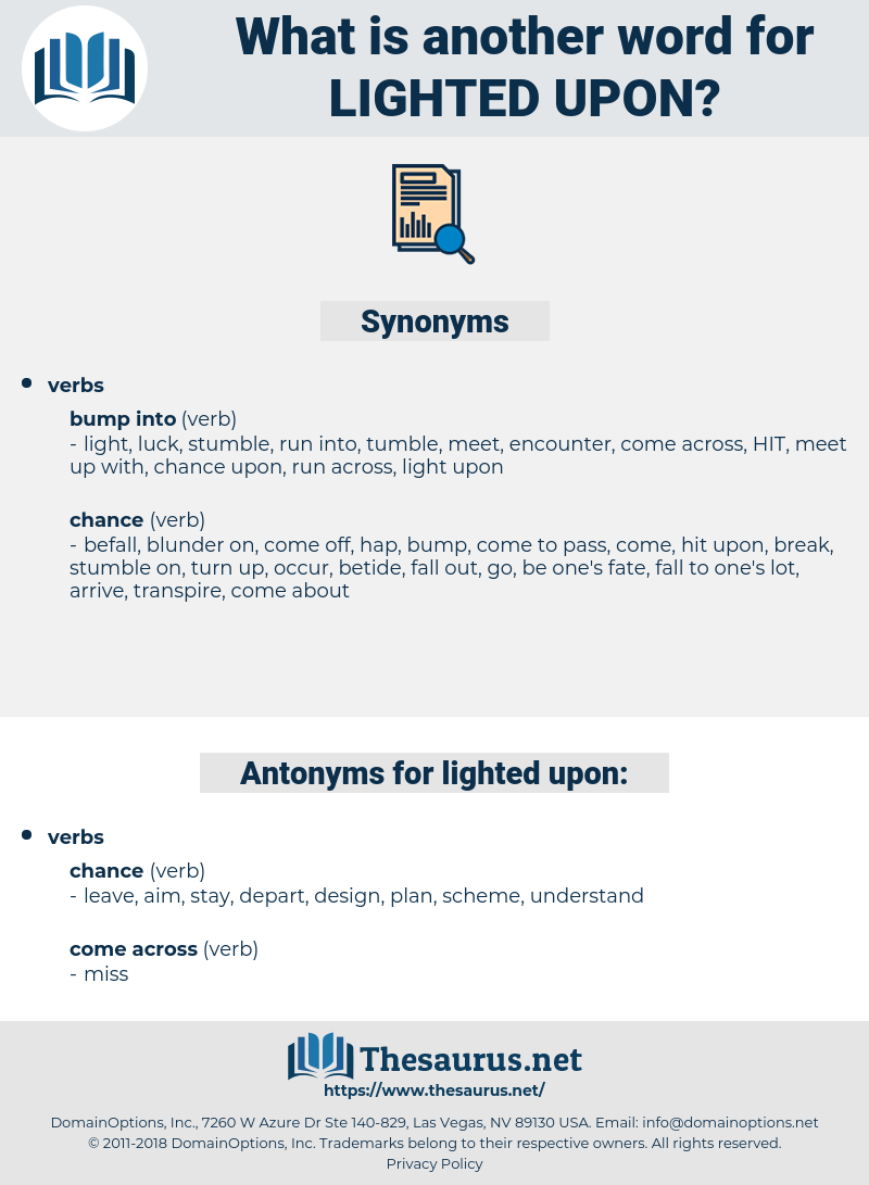 lighted upon, synonym lighted upon, another word for lighted upon, words like lighted upon, thesaurus lighted upon