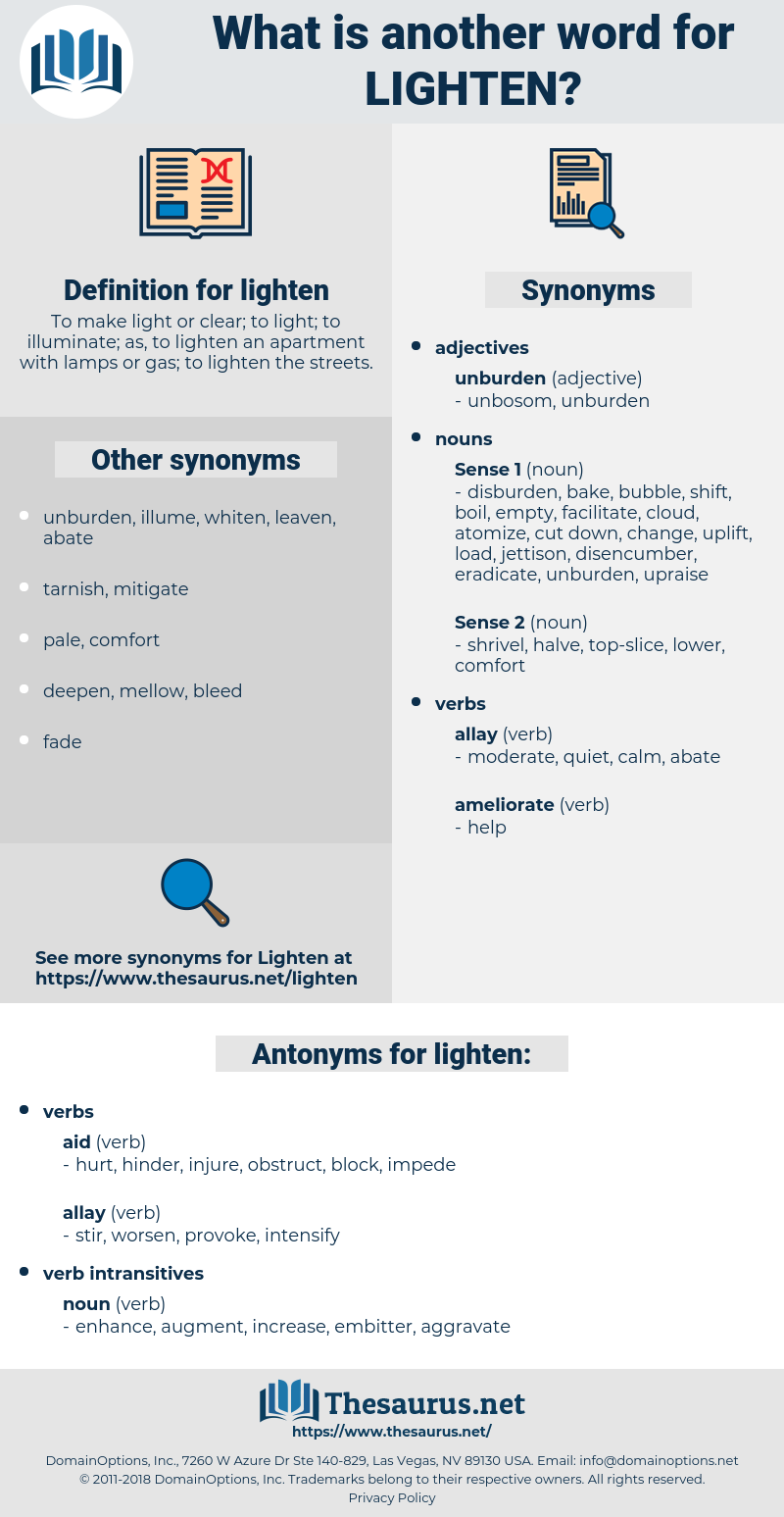 lighten, synonym lighten, another word for lighten, words like lighten, thesaurus lighten