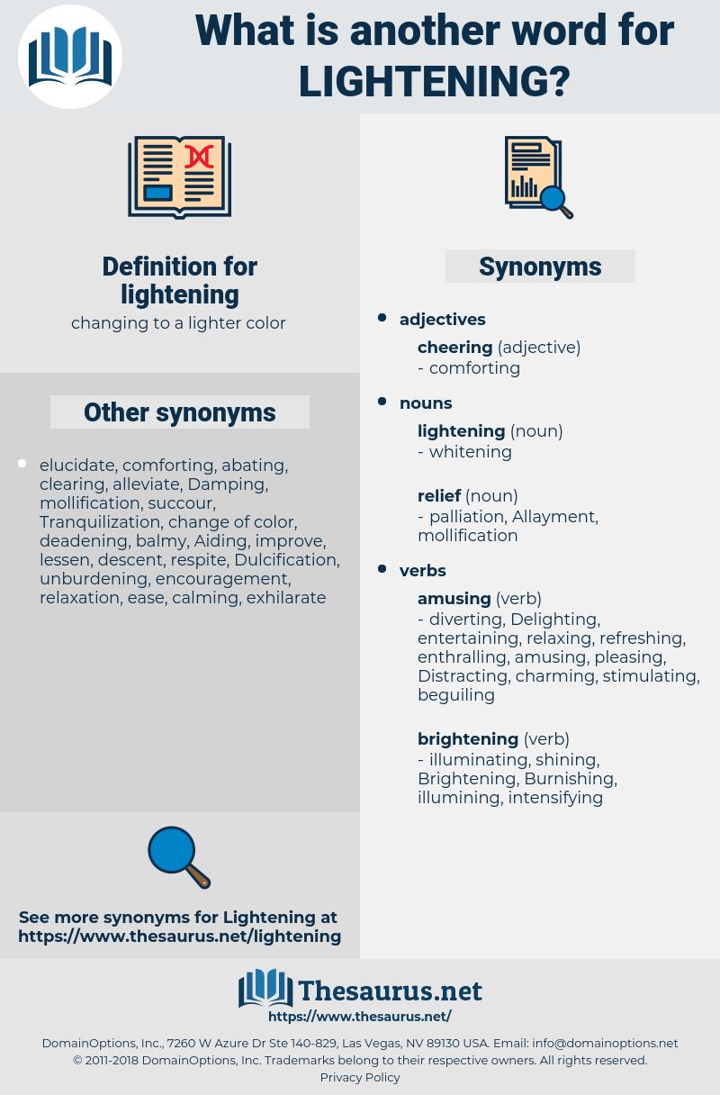 lightening, synonym lightening, another word for lightening, words like lightening, thesaurus lightening