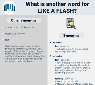 like a flash, synonym like a flash, another word for like a flash, words like like a flash, thesaurus like a flash
