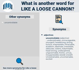 like a loose cannon, synonym like a loose cannon, another word for like a loose cannon, words like like a loose cannon, thesaurus like a loose cannon