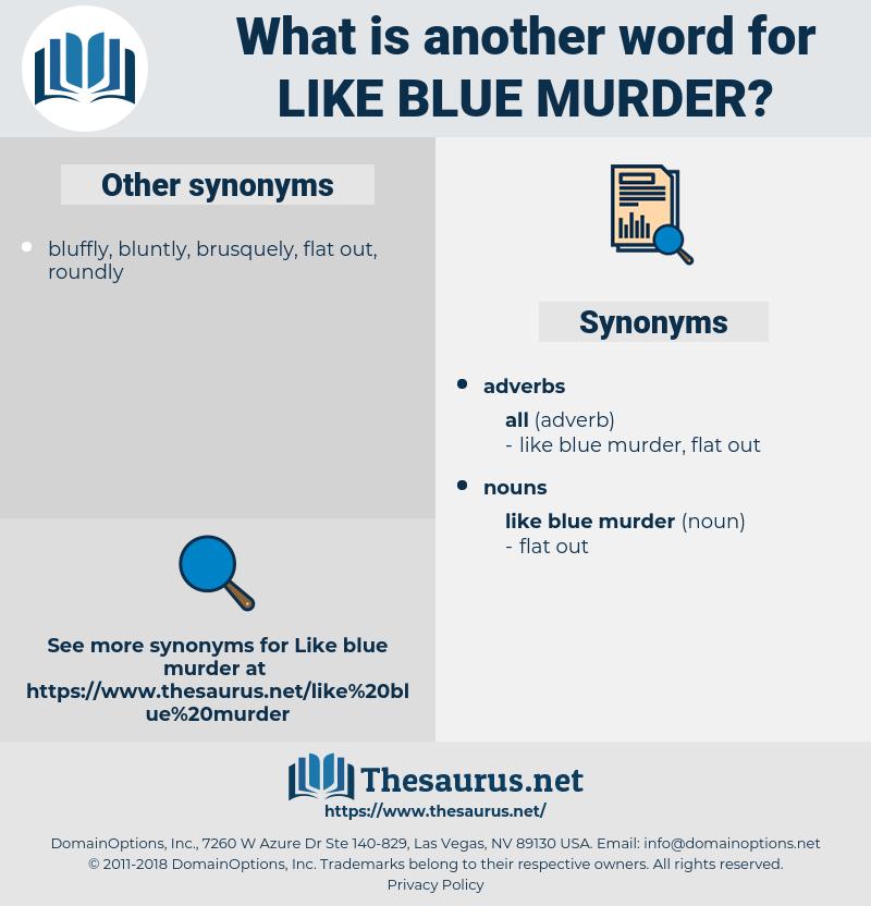 like blue murder, synonym like blue murder, another word for like blue murder, words like like blue murder, thesaurus like blue murder